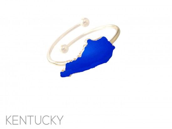 Blue Gold Kentucky State Map Wire Ring