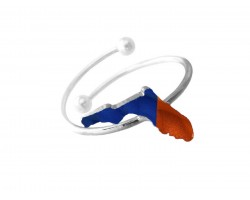 Blue Orange Silver Florida State Map Wire Ring.