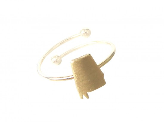 Gold Alabama State Map Wire Ring