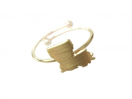 Gold Louisiana State Map Wire Ring