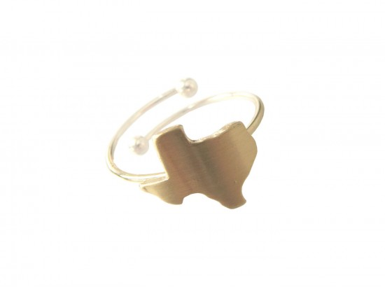 Gold Texas State Map Wire Ring