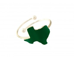 Green Texas State Map Gold Wire Ring