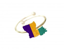 Mardi Gras Louisiana State Map Wire Ring