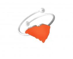Orange South Carolina State Map Silver Wire Ring