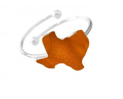 Orange Texas State Map Silver Wire Ring