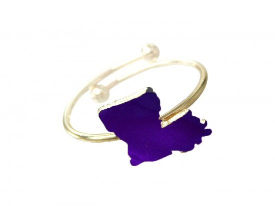 Purple Gold Louisiana State Map Wire Ring