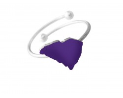 Purple South Carolina State Map Silver Wire Ring