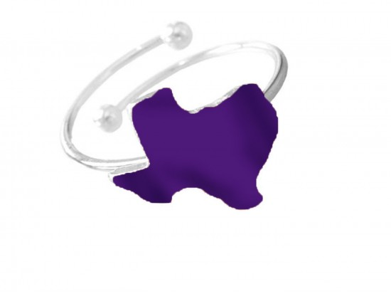 Purple Texas State Map Silver Wire Ring