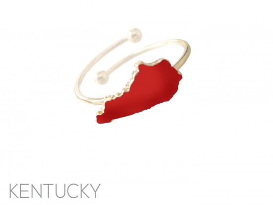 Red Kentucky State Map Gold Wire Ring