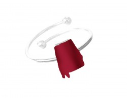Red Alabama State Map Silver Wire Ring