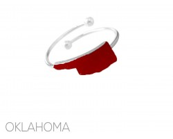 Red Oklahoma State Map Silver Wire Ring