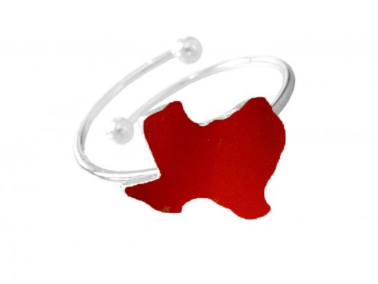 Red Texas State Map Silver Wire Ring