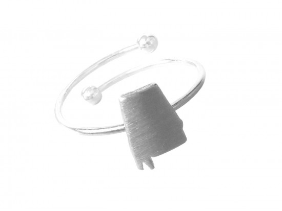 Silver Alabama State Map Wire Ring