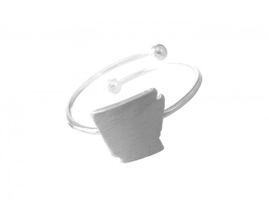 Silver Arkansas State Map Wire Ring