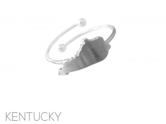 Silver Kentucky State Map Wire Ring