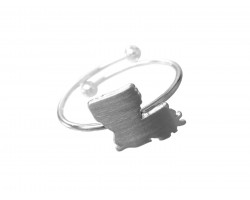 Silver Louisiana State Map Wire Ring