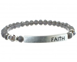 Gray Crystal Faith Gold Bar Stretch Bracelet