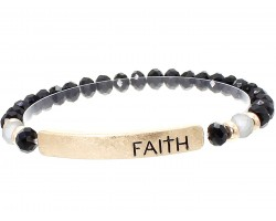 Black Crystal Faith Gold Bar Stretch Bracelet