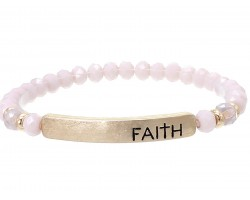 Light Purple Crystal Faith Gold Bar Stretch Bracelet