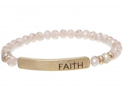 Pink Crystal Faith Gold Bar Stretch Bracelet