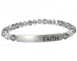 Silver Crystal Faith Gold Bar Stretch Bracelet