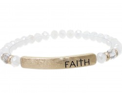White Opal Crystal Faith Gold Bar Stretch Bracelet