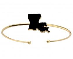 Black Gold Louisiana State Map Wire Cuff Bracelet