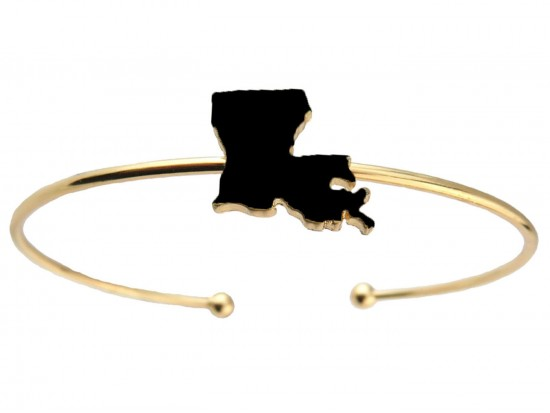 Black Gold Louisiana State Map Wire Cuff Bracelet