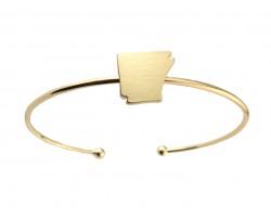 Gold Arkansas State Map Wire Cuff Bracelet