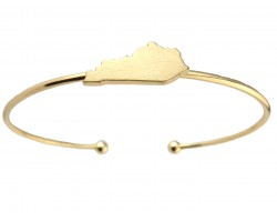 Gold Kentucky State Map Wire Cuff Bracelet