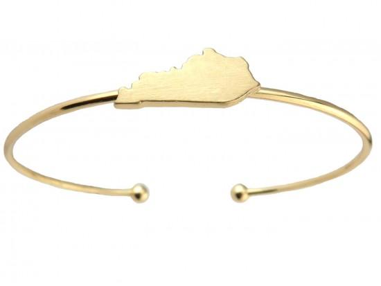 Gold Kentucky State Map Wire Cuff Bracelet