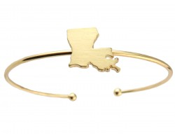 Gold Louisiana State Map Wire Cuff Bracelet