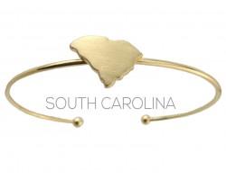 Gold South Carolina State Map Wire Cuff Bracelet.