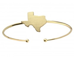 Gold Texas State Map Wire Cuff Bracelet