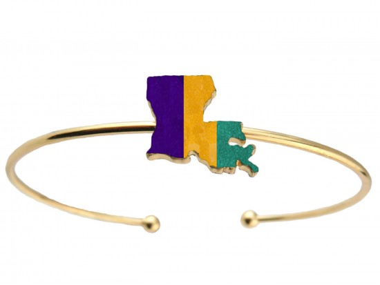 Mardi Gras Louisiana State Map Wire Cuff Bracelet