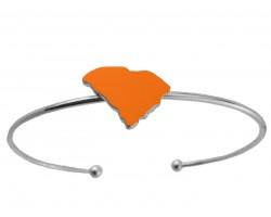 Orange South Carolina State Map Wire Silver Cuff Bracelet
