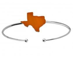 Orange Texas State Map Silver Wire Cuff Bracelet