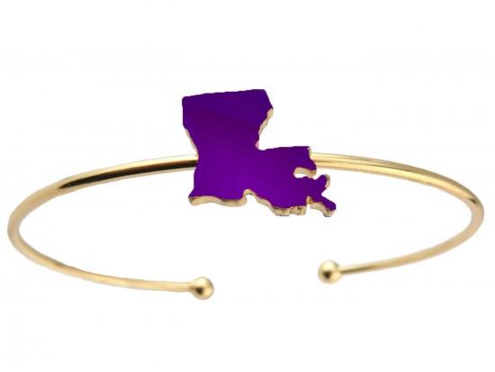 Purple Gold Louisiana State Map Wire Cuff Bracelet