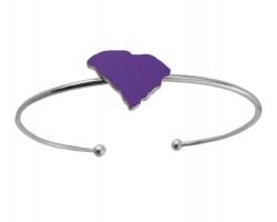 Purple South Carolina State Map Wire Silver Cuff Bracelet