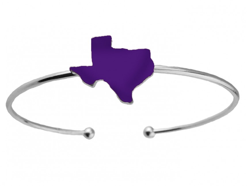 Purple Texas State Map Silver Wire Cuff Bracelet