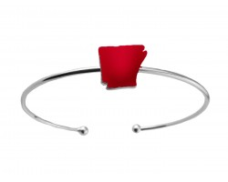 Red Arkansas State Map Silver Wire Cuff Bracelet