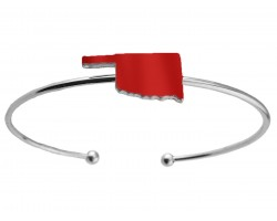 Red Oklahoma State Map Silver Wire Cuff Bracelet