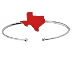 Red Texas State Map Silver Wire Cuff Bracelet
