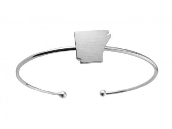 Silver Arkansas State Map Wire Cuff Bracelet