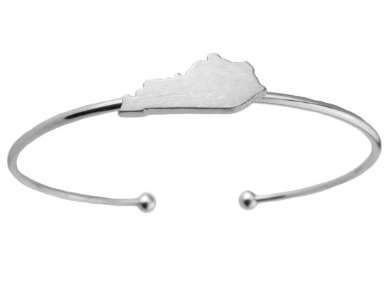 Silver Kentucky State Map Wire Cuff Bracelet