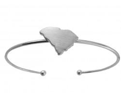 Silver South Carolina State Map Wire Cuff Bracelet.