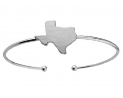 Silver Texas State Map Wire Cuff Bracelet