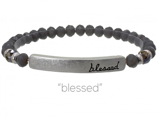 Gray Crystal Blessed Silver Bar Stretch Bracelet