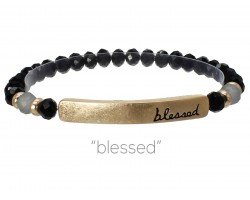 Black Crystal Blessed Gold Bar Stretch Bracelet
