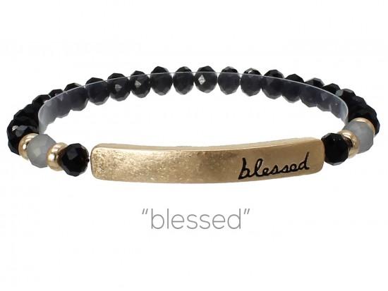 Black Crystal Blessed Gold Bar Stretch Bracelet